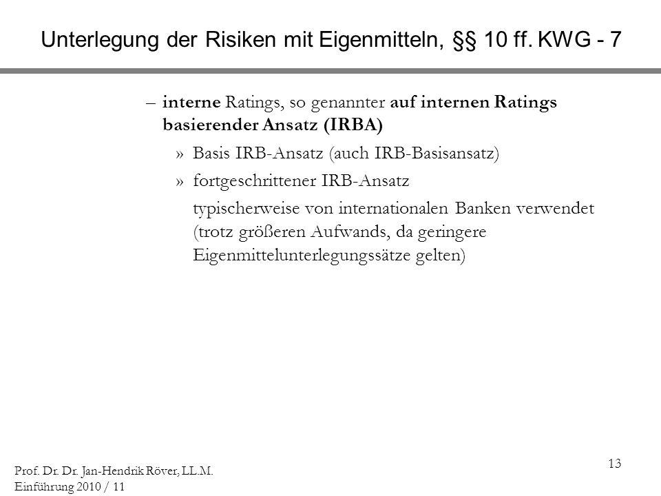 Unterlegung der Risiken mit Eigenmitteln, §§ 10 ff. KWG - 7