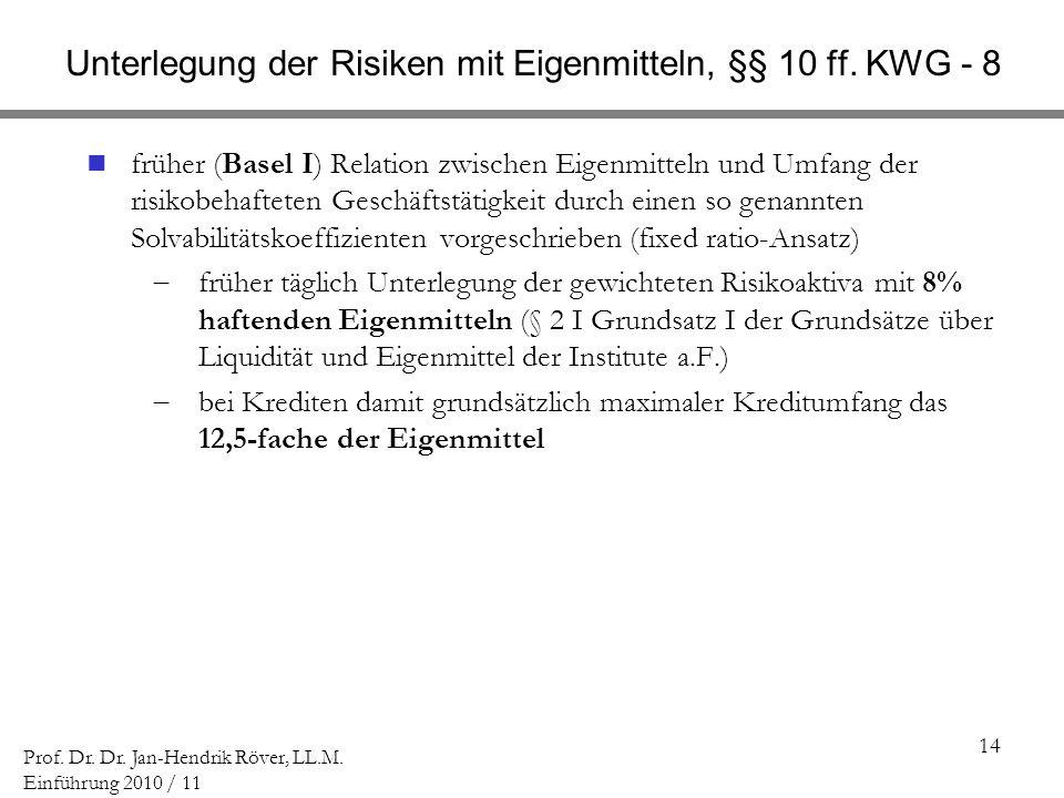 Unterlegung der Risiken mit Eigenmitteln, §§ 10 ff. KWG - 8