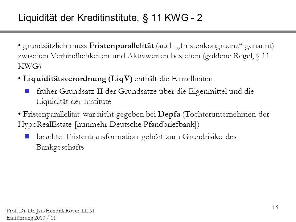 Liquidität der Kreditinstitute, § 11 KWG - 2
