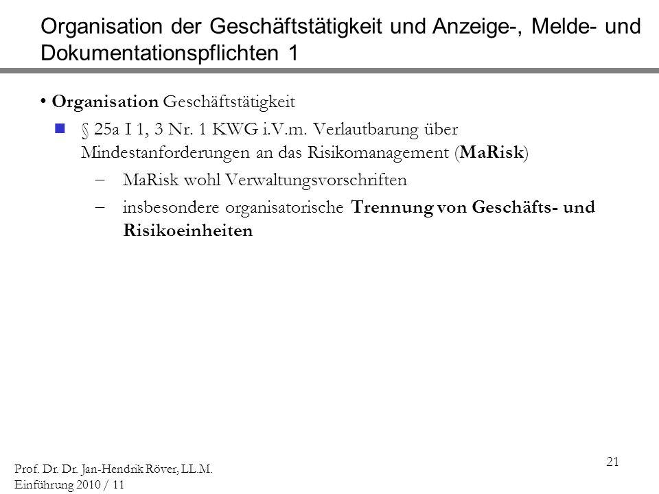 Organisation der Geschäftstätigkeit und Anzeige-, Melde- und Dokumentationspflichten 1
