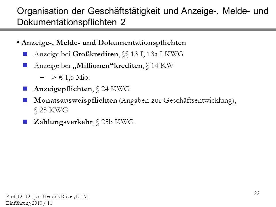 Organisation der Geschäftstätigkeit und Anzeige-, Melde- und Dokumentationspflichten 2