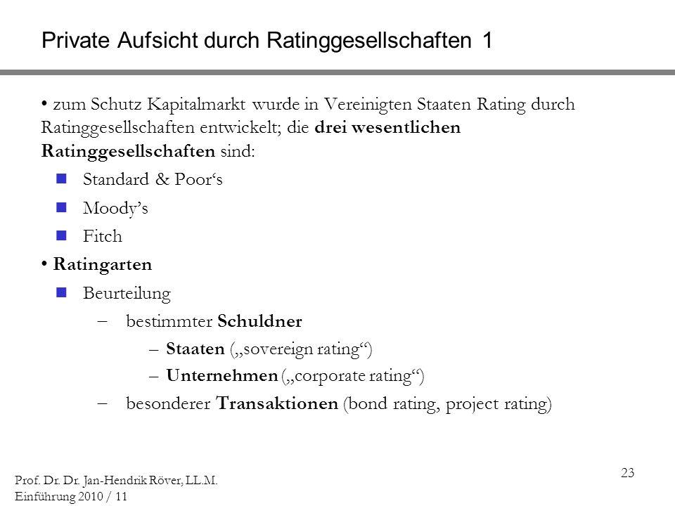 Private Aufsicht durch Ratinggesellschaften 1