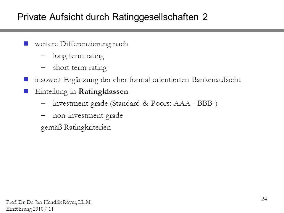 Private Aufsicht durch Ratinggesellschaften 2
