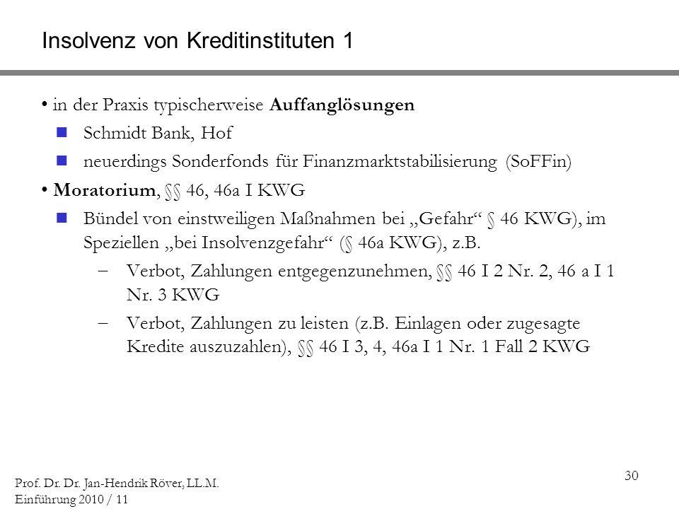 Insolvenz von Kreditinstituten 1