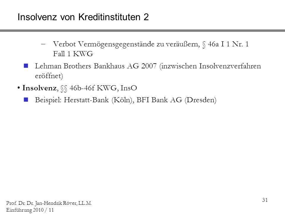 Insolvenz von Kreditinstituten 2