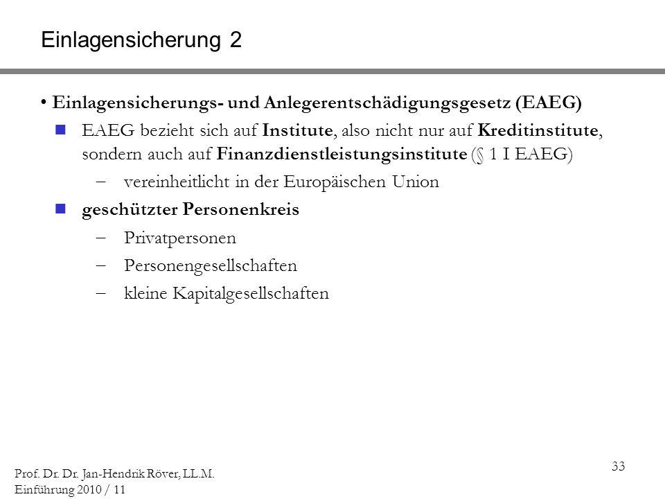 Einlagensicherung 2 Einlagensicherungs- und Anlegerentschädigungsgesetz (EAEG)