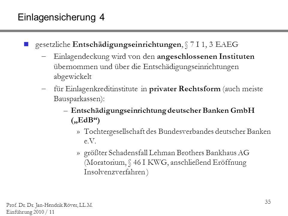 Einlagensicherung 4 gesetzliche Entschädigungseinrichtungen, § 7 I 1, 3 EAEG.