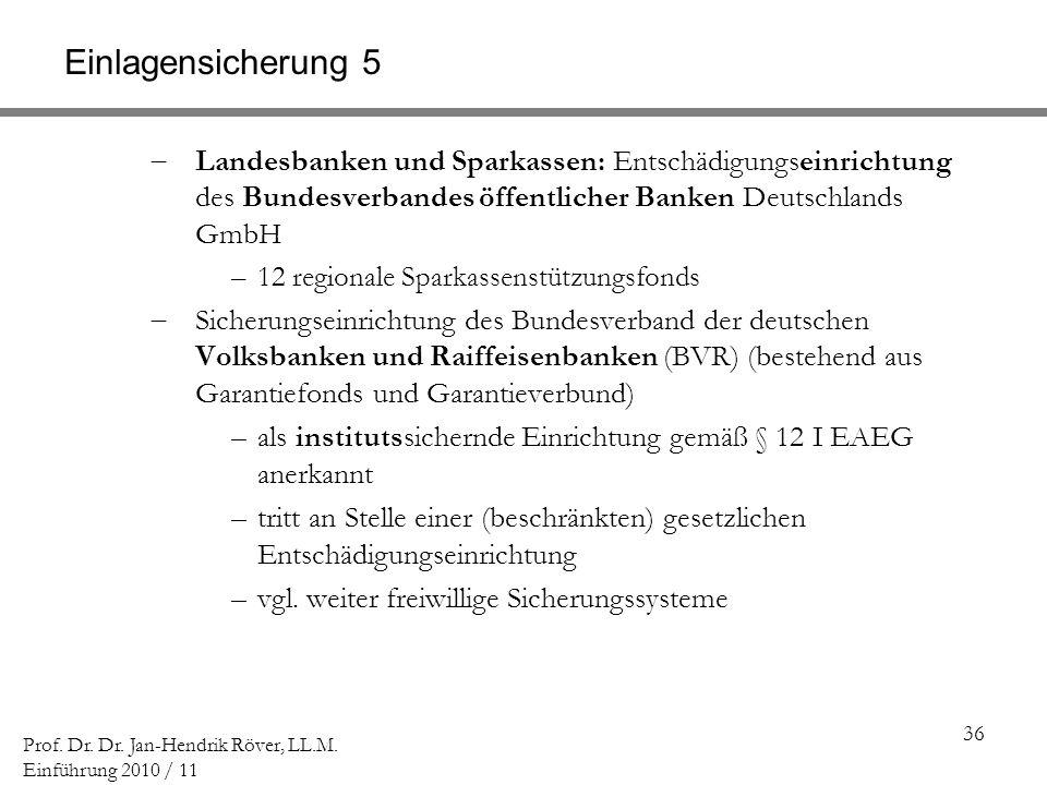 Einlagensicherung 5 Landesbanken und Sparkassen: Entschädigungseinrichtung des Bundesverbandes öffentlicher Banken Deutschlands GmbH.