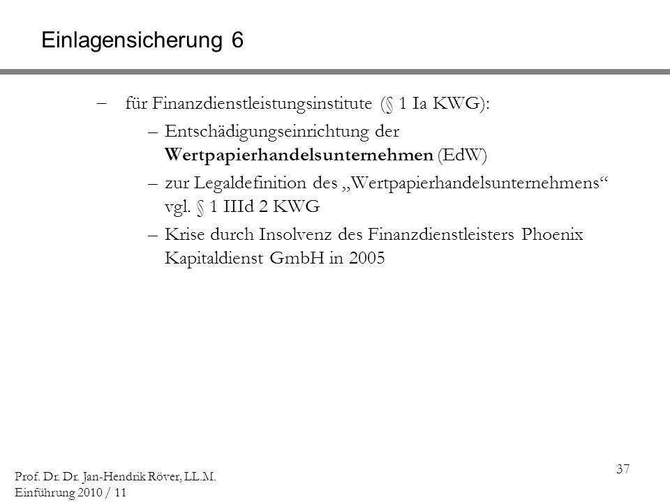 Einlagensicherung 6 für Finanzdienstleistungsinstitute (§ 1 Ia KWG):