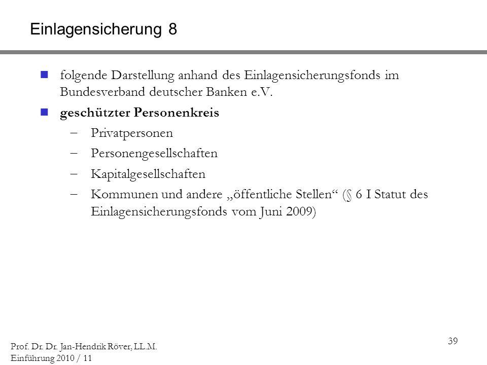 Einlagensicherung 8 folgende Darstellung anhand des Einlagensicherungsfonds im Bundesverband deutscher Banken e.V.