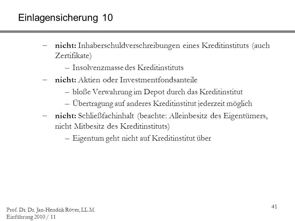 Einlagensicherung 10 nicht: Inhaberschuldverschreibungen eines Kreditinstituts (auch Zertifikate) Insolvenzmasse des Kreditinstituts.