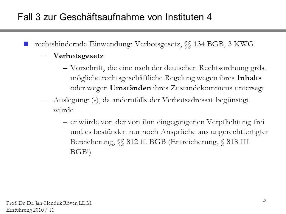 Fall 3 zur Geschäftsaufnahme von Instituten 4