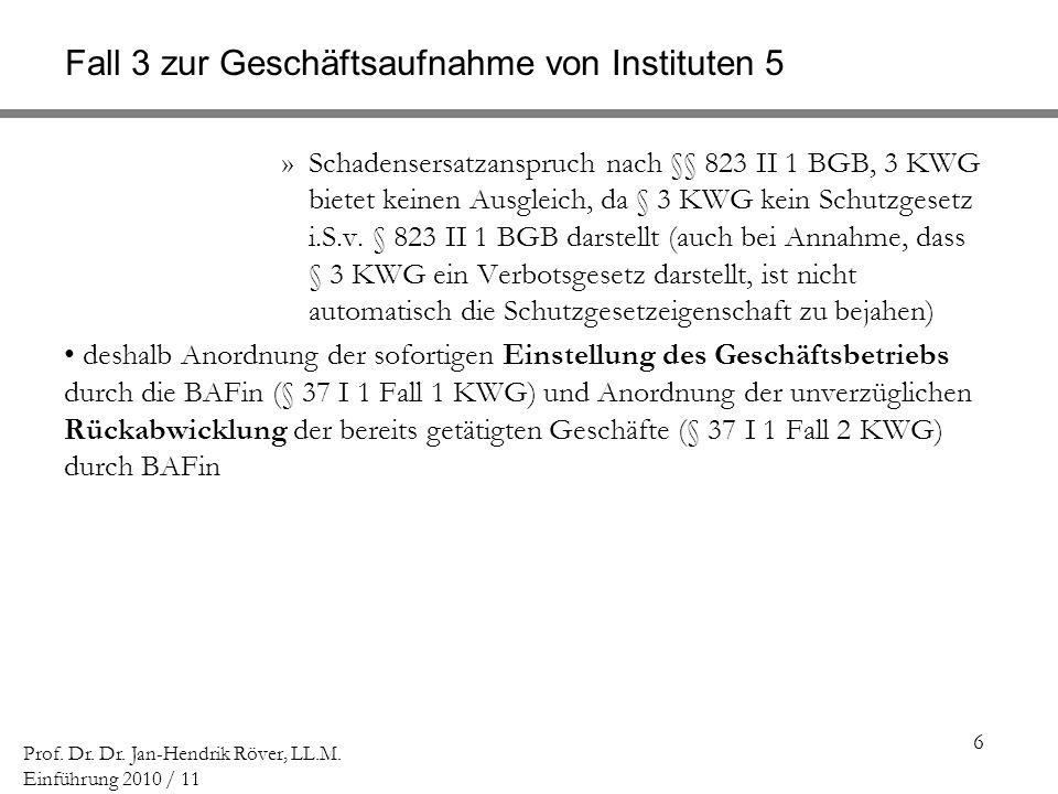 Fall 3 zur Geschäftsaufnahme von Instituten 5