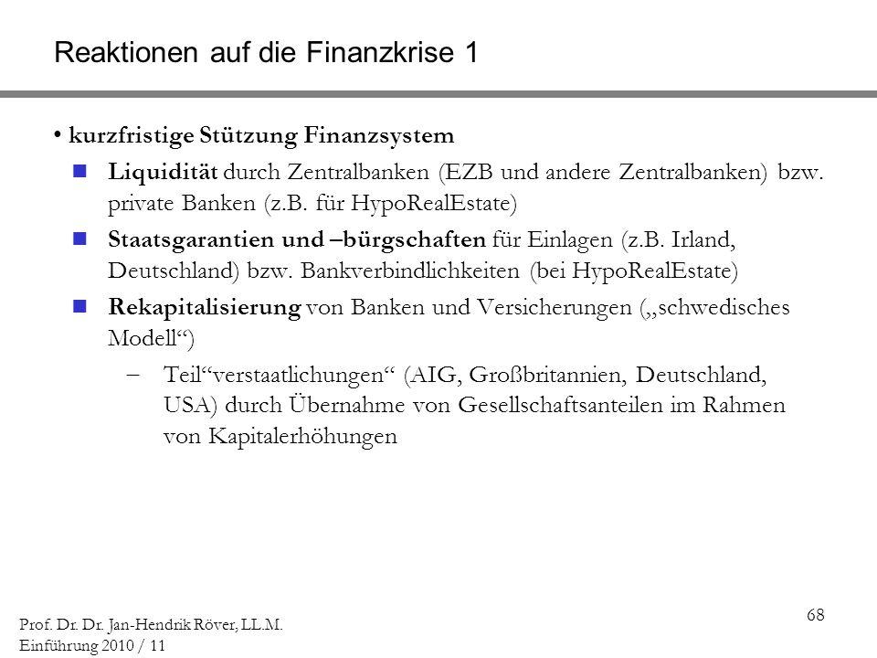 Reaktionen auf die Finanzkrise 1