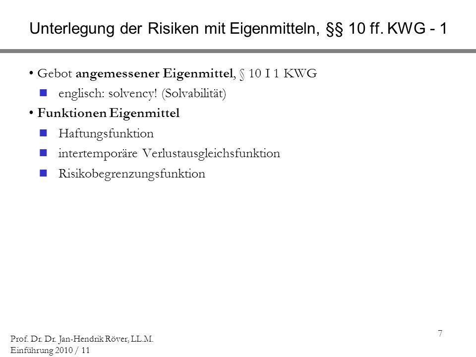 Unterlegung der Risiken mit Eigenmitteln, §§ 10 ff. KWG - 1