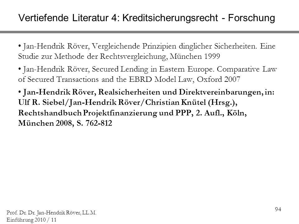 Vertiefende Literatur 4: Kreditsicherungsrecht - Forschung