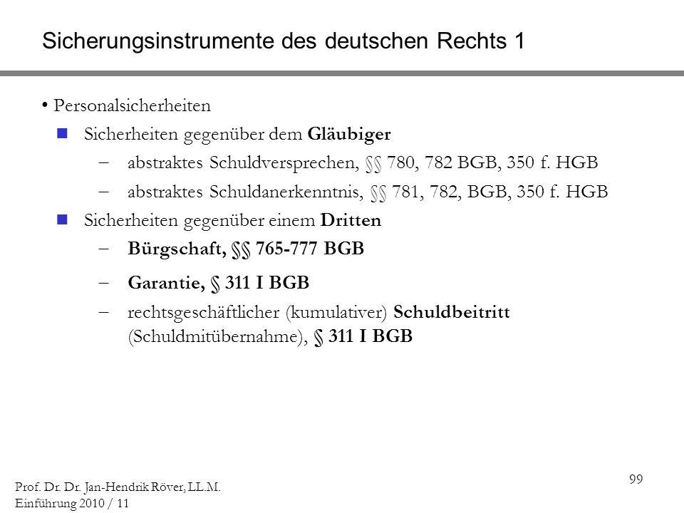 Sicherungsinstrumente des deutschen Rechts 1