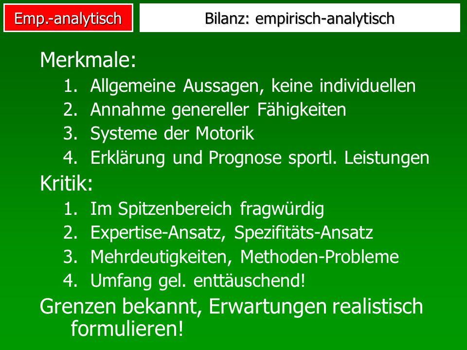 Bilanz: empirisch-analytisch