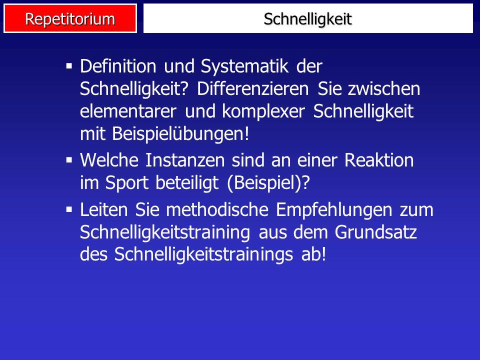 Welche Instanzen sind an einer Reaktion im Sport beteiligt (Beispiel)