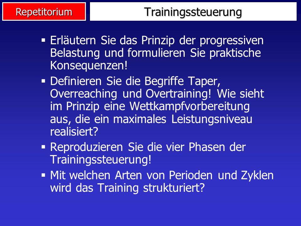 Trainingssteuerung Erläutern Sie das Prinzip der progressiven Belastung und formulieren Sie praktische Konsequenzen!