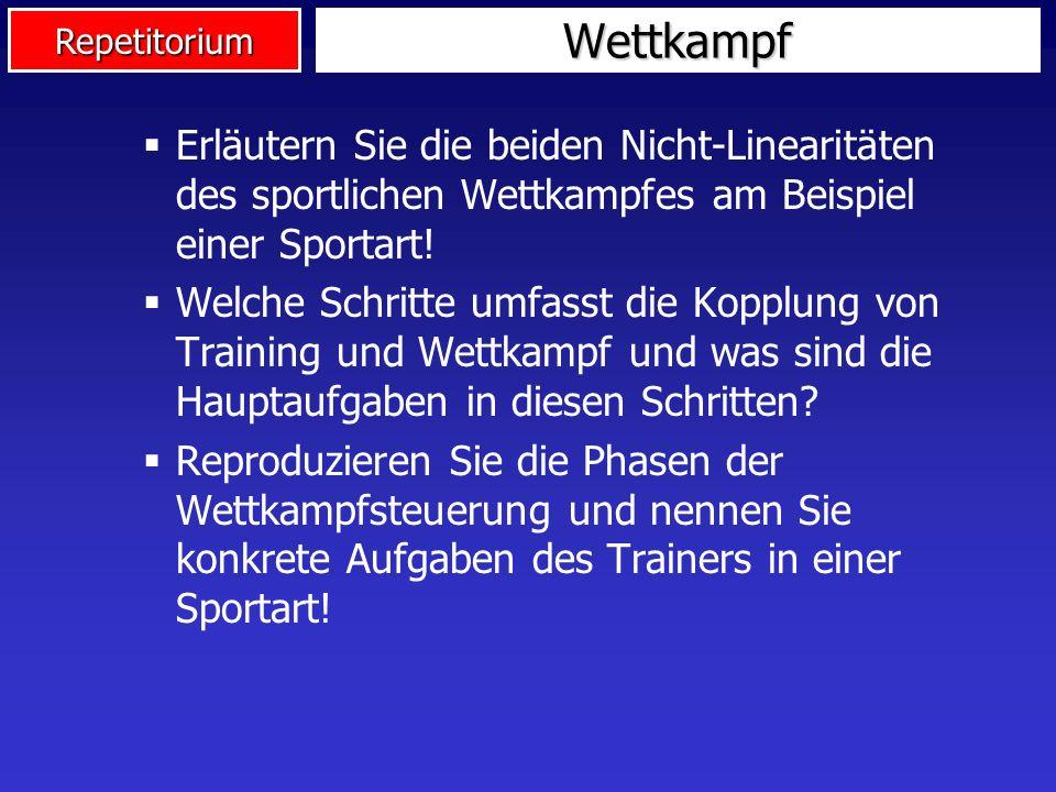 Wettkampf Erläutern Sie die beiden Nicht-Linearitäten des sportlichen Wettkampfes am Beispiel einer Sportart!