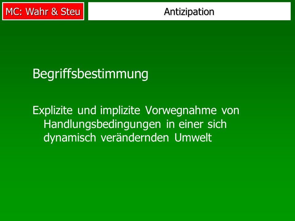 Antizipation Begriffsbestimmung.
