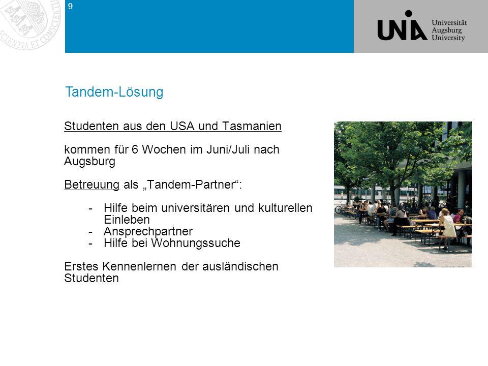 Tandem-Lösung Tandem-Lösung Studenten aus den USA und Tasmanien
