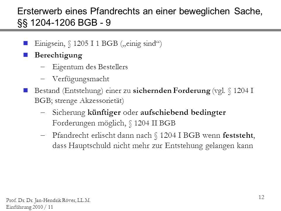 Ersterwerb eines Pfandrechts an einer beweglichen Sache, §§ 1204-1206 BGB - 9
