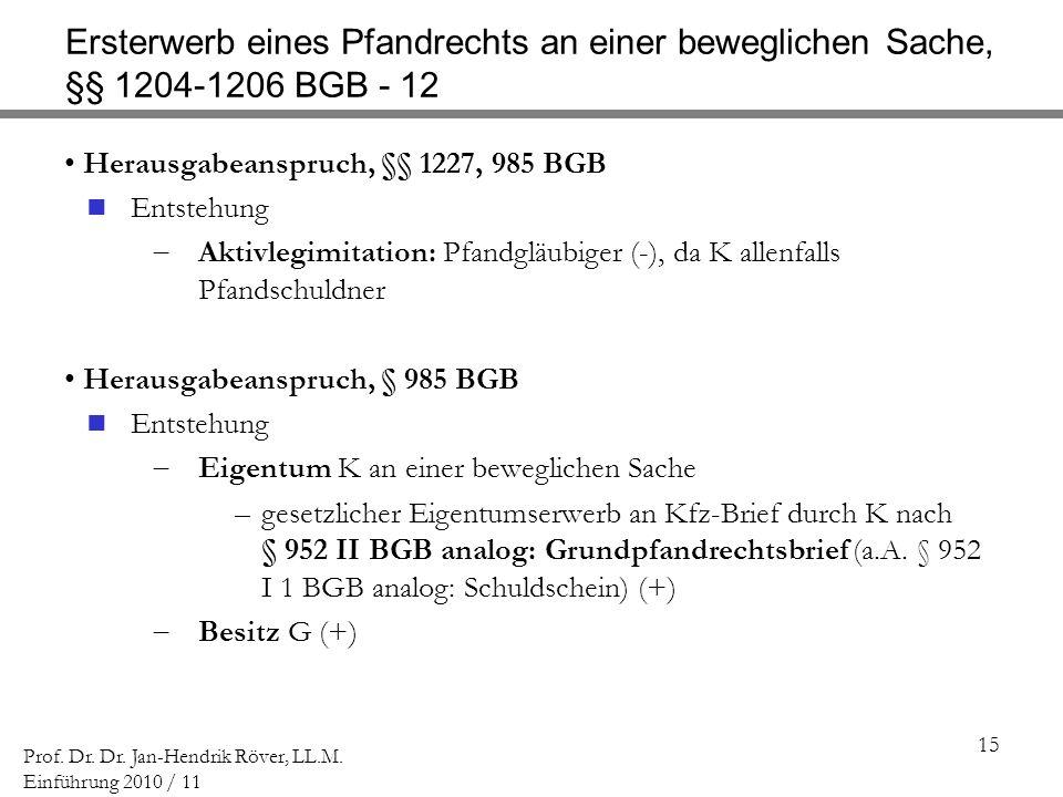 Ersterwerb eines Pfandrechts an einer beweglichen Sache, §§ 1204-1206 BGB - 12