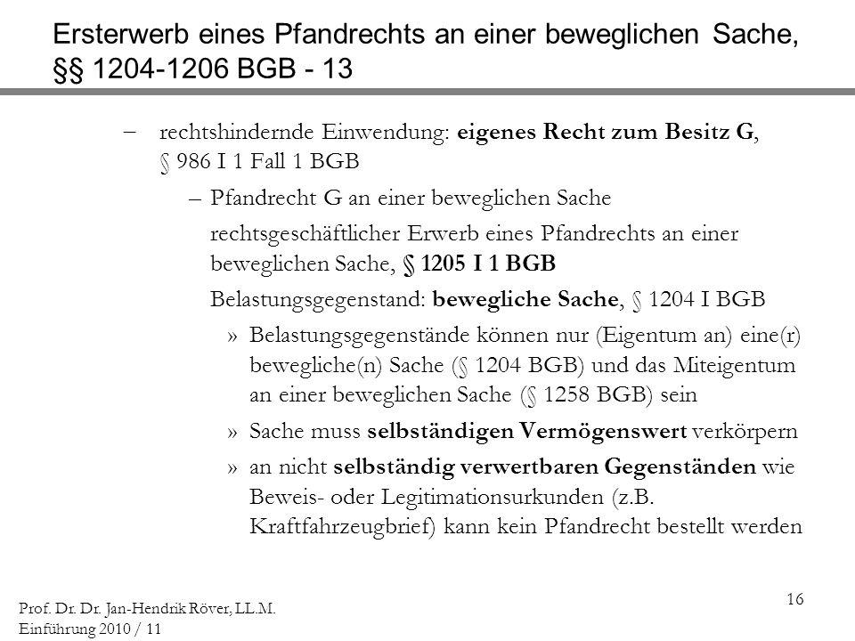 Ersterwerb eines Pfandrechts an einer beweglichen Sache, §§ 1204-1206 BGB - 13