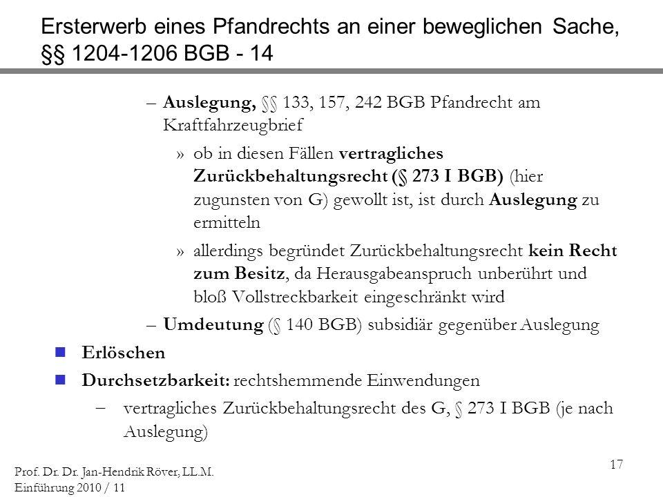Ersterwerb eines Pfandrechts an einer beweglichen Sache, §§ 1204-1206 BGB - 14