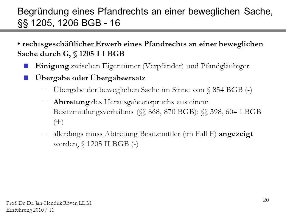 Begründung eines Pfandrechts an einer beweglichen Sache, §§ 1205, 1206 BGB - 16