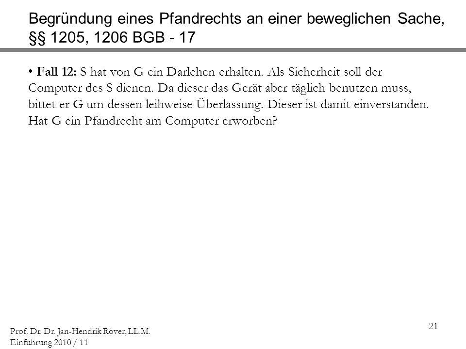 Begründung eines Pfandrechts an einer beweglichen Sache, §§ 1205, 1206 BGB - 17