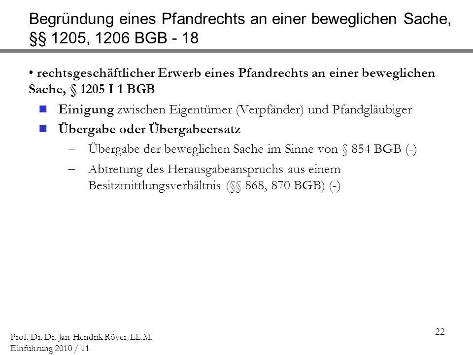 Begründung eines Pfandrechts an einer beweglichen Sache, §§ 1205, 1206 BGB - 18