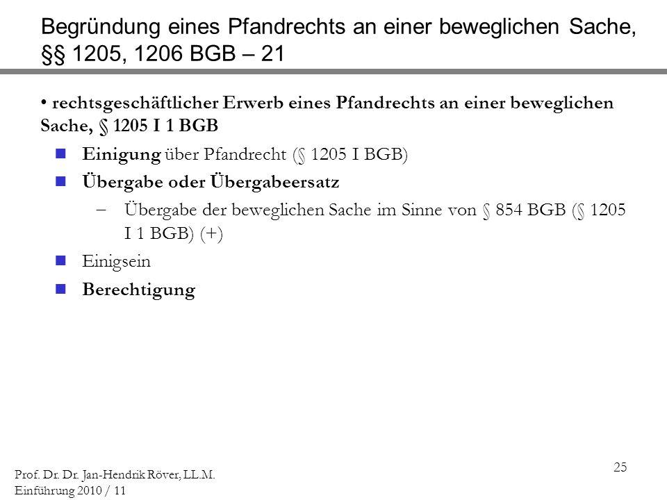 Begründung eines Pfandrechts an einer beweglichen Sache, §§ 1205, 1206 BGB – 21