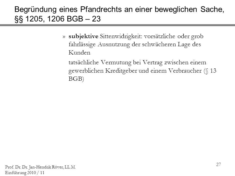 Begründung eines Pfandrechts an einer beweglichen Sache, §§ 1205, 1206 BGB – 23