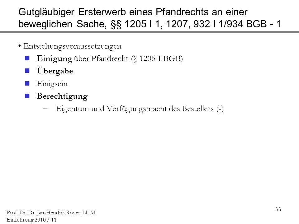Gutgläubiger Ersterwerb eines Pfandrechts an einer beweglichen Sache, §§ 1205 I 1, 1207, 932 I 1/934 BGB - 1