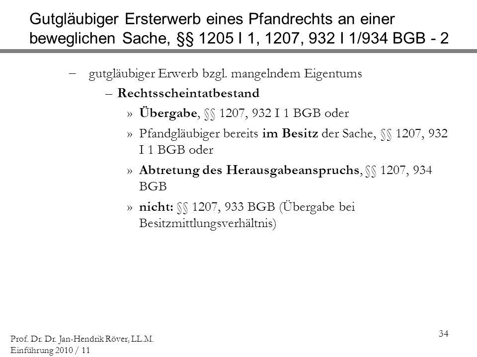 Gutgläubiger Ersterwerb eines Pfandrechts an einer beweglichen Sache, §§ 1205 I 1, 1207, 932 I 1/934 BGB - 2