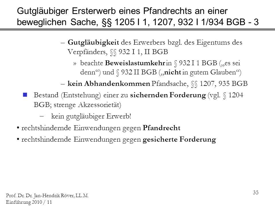 Gutgläubiger Ersterwerb eines Pfandrechts an einer beweglichen Sache, §§ 1205 I 1, 1207, 932 I 1/934 BGB - 3