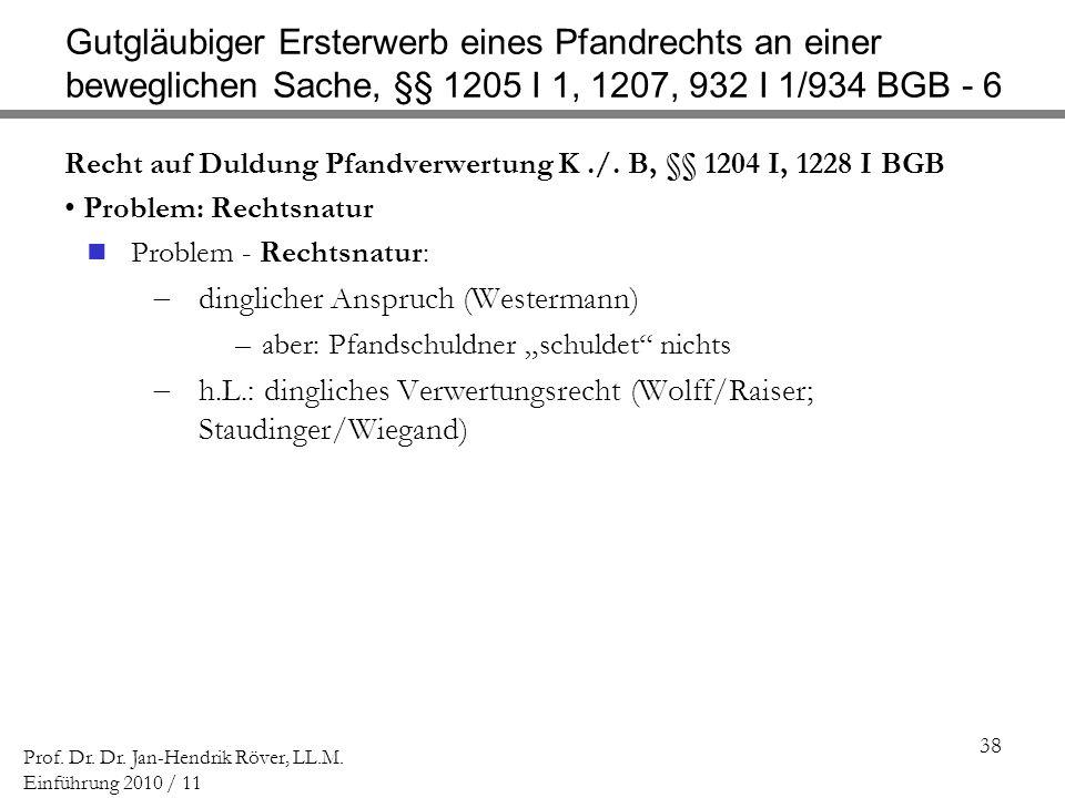 Gutgläubiger Ersterwerb eines Pfandrechts an einer beweglichen Sache, §§ 1205 I 1, 1207, 932 I 1/934 BGB - 6