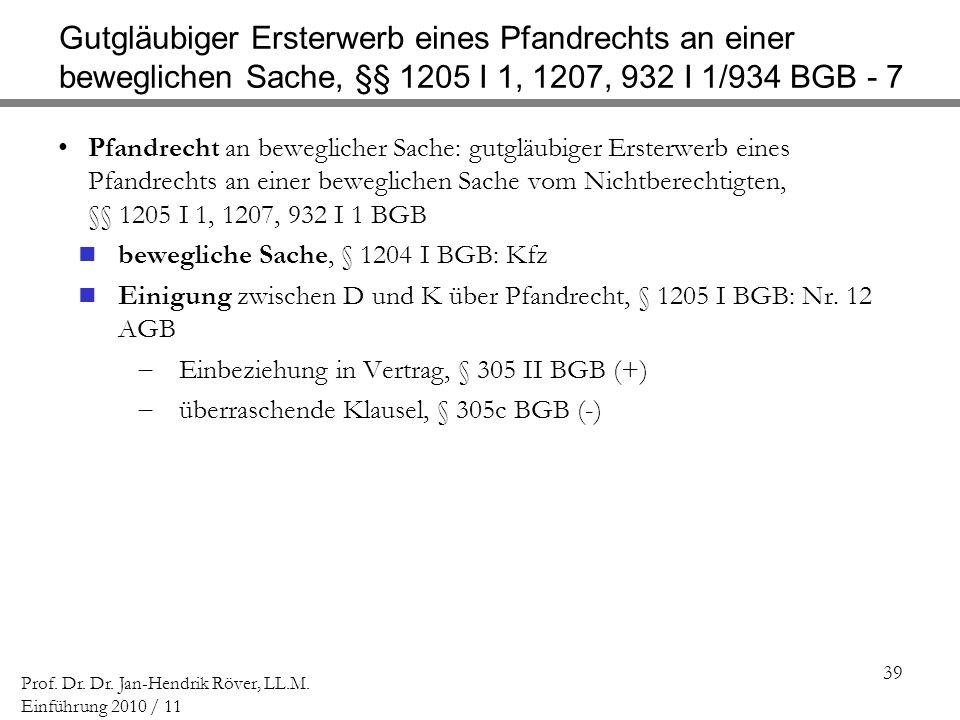 Gutgläubiger Ersterwerb eines Pfandrechts an einer beweglichen Sache, §§ 1205 I 1, 1207, 932 I 1/934 BGB - 7