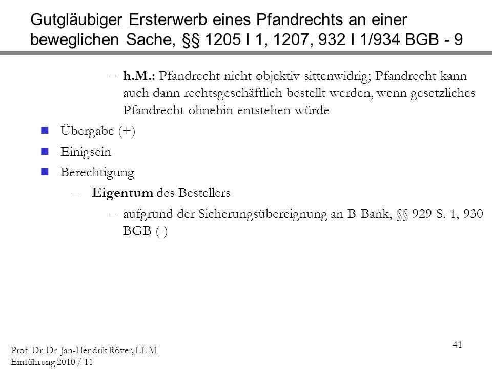 Gutgläubiger Ersterwerb eines Pfandrechts an einer beweglichen Sache, §§ 1205 I 1, 1207, 932 I 1/934 BGB - 9