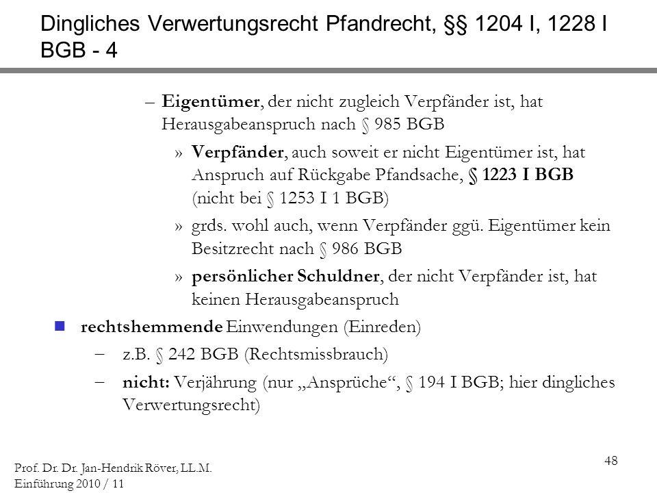Dingliches Verwertungsrecht Pfandrecht, §§ 1204 I, 1228 I BGB - 4
