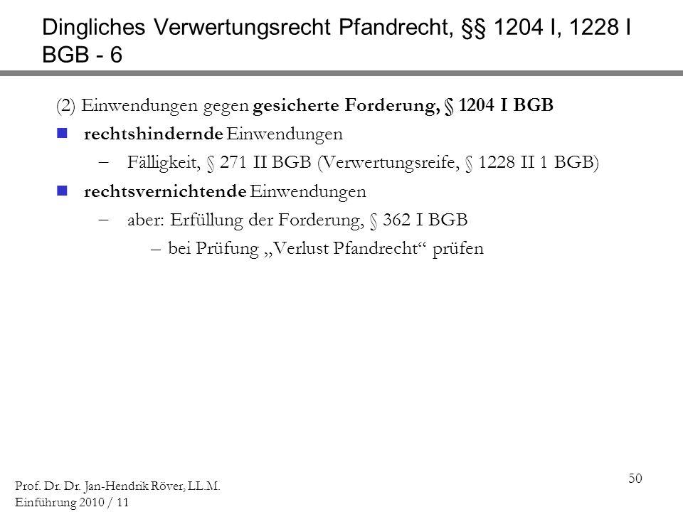 Dingliches Verwertungsrecht Pfandrecht, §§ 1204 I, 1228 I BGB - 6