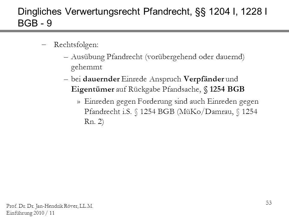 Dingliches Verwertungsrecht Pfandrecht, §§ 1204 I, 1228 I BGB - 9