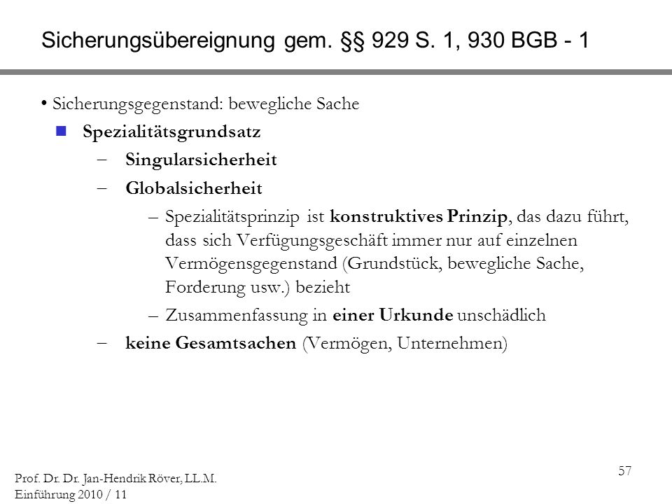 Sicherungsübereignung gem. §§ 929 S. 1, 930 BGB - 1