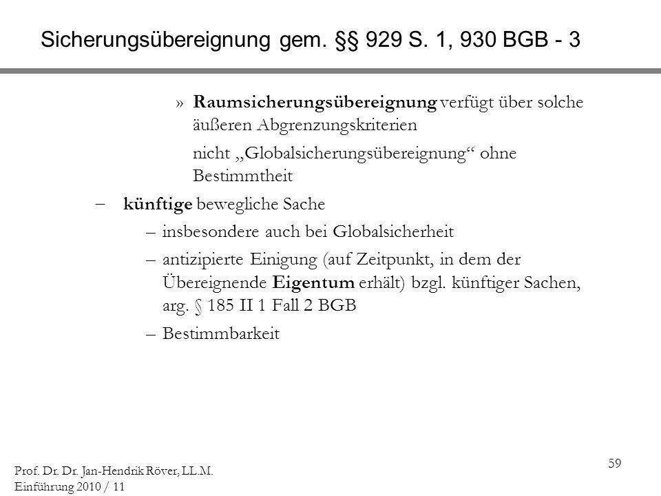 Sicherungsübereignung gem. §§ 929 S. 1, 930 BGB - 3