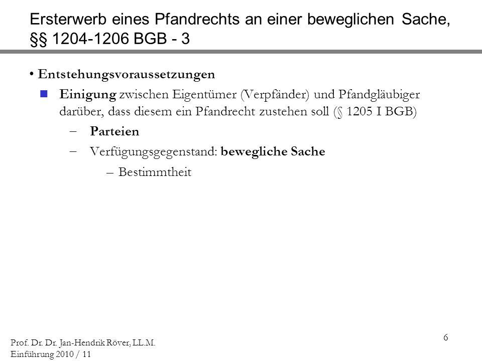 Ersterwerb eines Pfandrechts an einer beweglichen Sache, §§ 1204-1206 BGB - 3