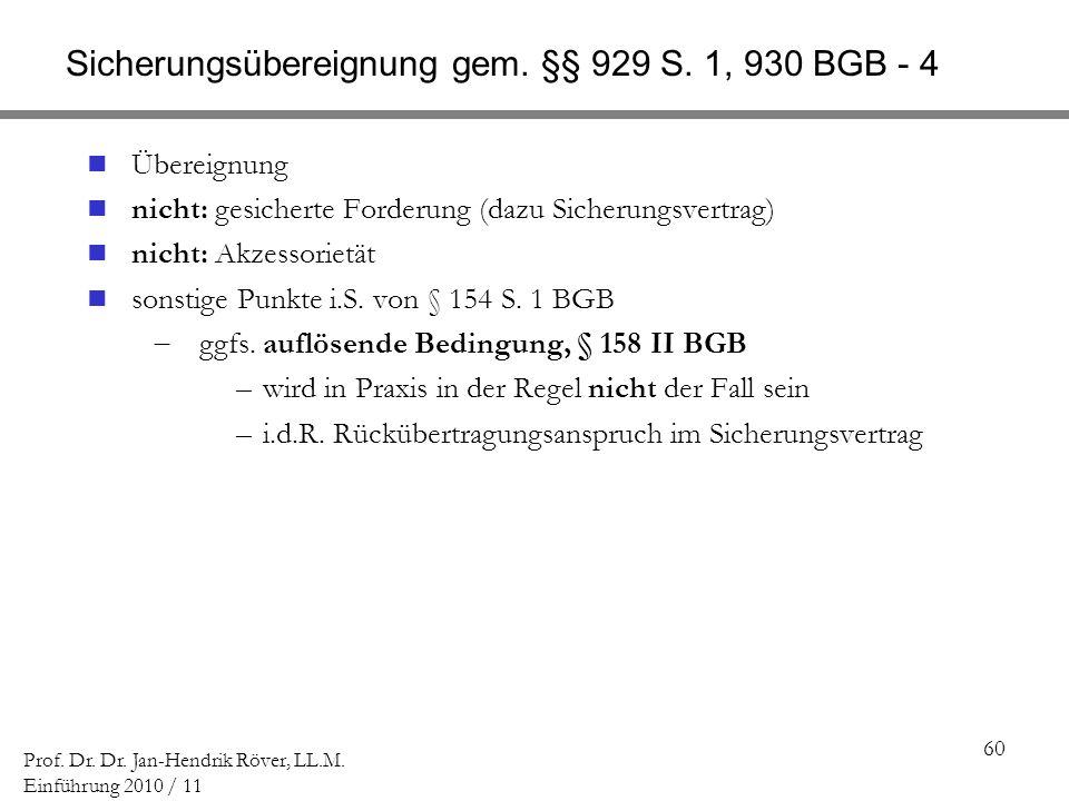 Sicherungsübereignung gem. §§ 929 S. 1, 930 BGB - 4