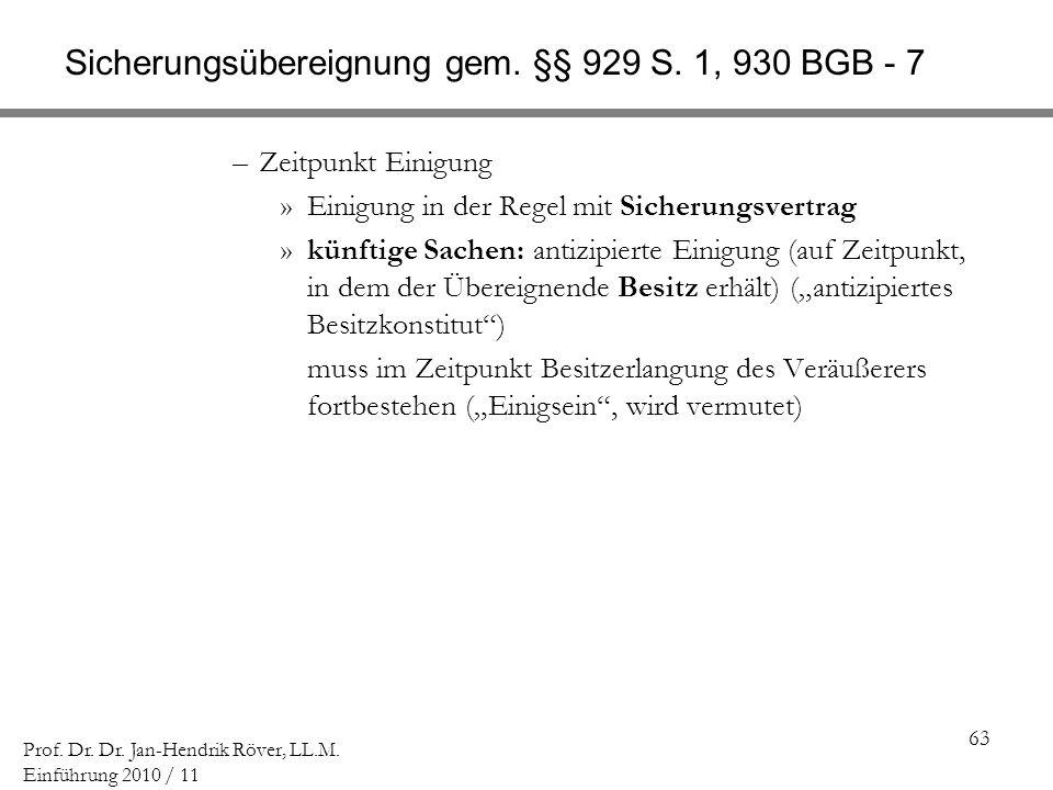 Sicherungsübereignung gem. §§ 929 S. 1, 930 BGB - 7